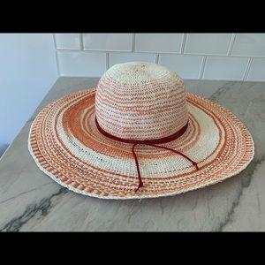 Anthropologie straw hat in orange stripe